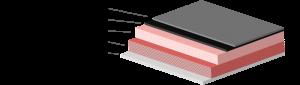 All-Solid-State-Lithium-Zelle mit einer Li-Metall-Anode, einer meist konventionellen Kathode mit Ionenleiter und statt Separator einem Feststoffionenleiter. Die einzelnen Schichtdicken in der Skizze sind der besseren Übersichtlichkeit halber nicht realitätsgetreu dargestellt.